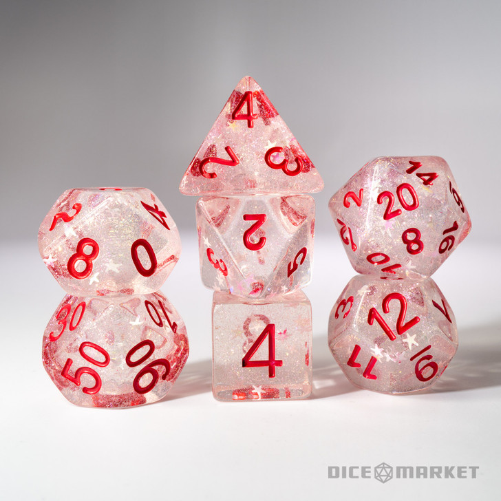 Fine Glitter and White Stars with Red Ink 7pc Polyhedral Dice Set