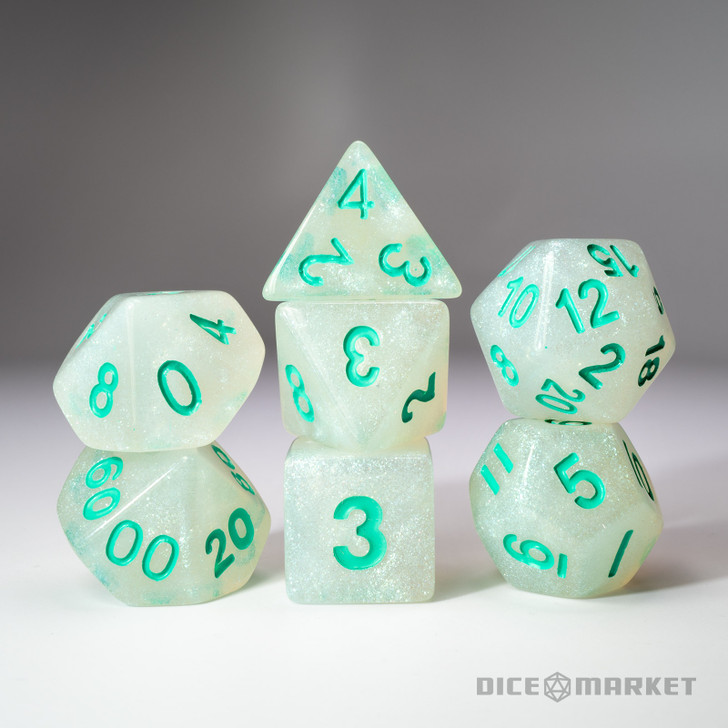 7pc Fine Glitter with Teal Ink Polyhedral Dice Set