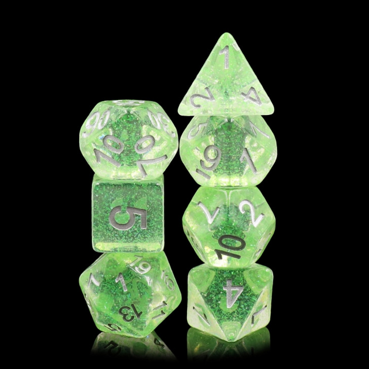Wind of Spring 7 pc Translucent Glitter Dice Set with Silver Ink