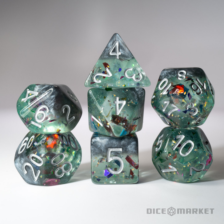 Silver and Blue Pooled Glitter with Confetti 2 Layer 7pc Polyhedral Dice Set For RPGs
