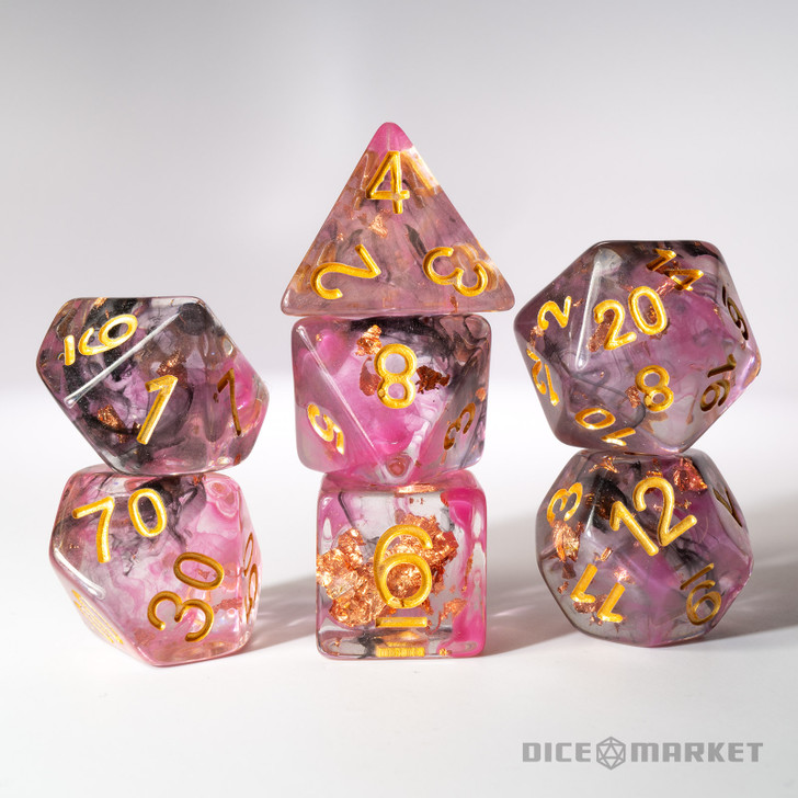 Pink and Black Swirl with Gold Foil 7pc Polyhedral Dice Set