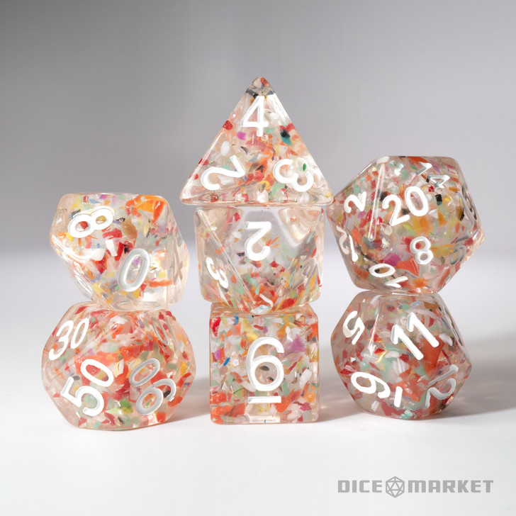 Confetti Clear Dice with White Ink 7pc Polyhedral Dice Set