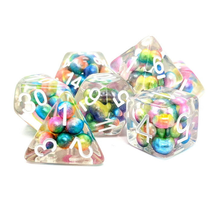 Rainbow Pearls filled Polyhedral RPG Dice Set