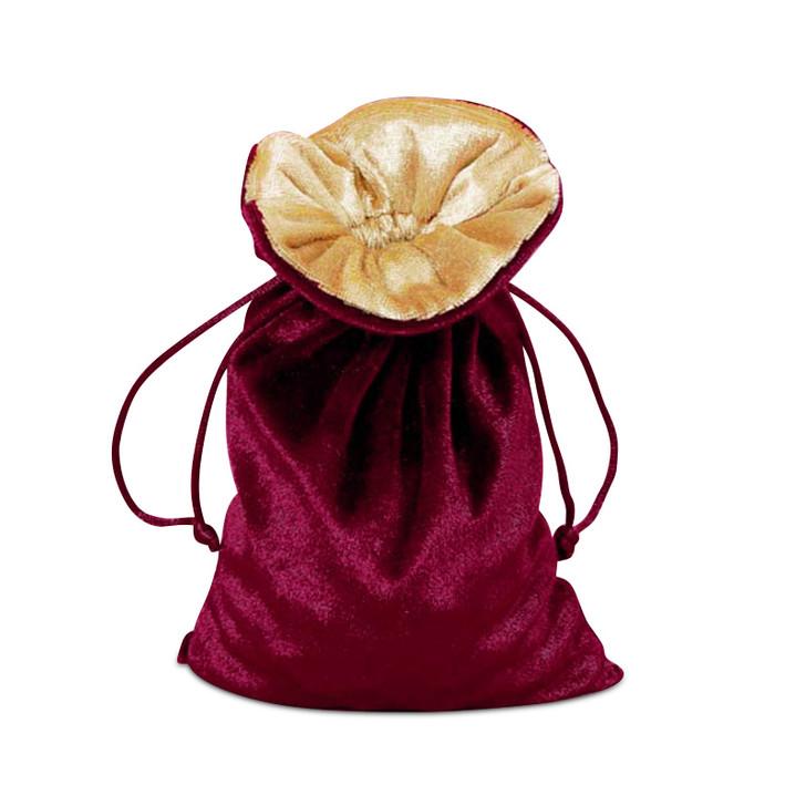 """Wine and Gold 5x8"""" Reversible Velvet Bag"""
