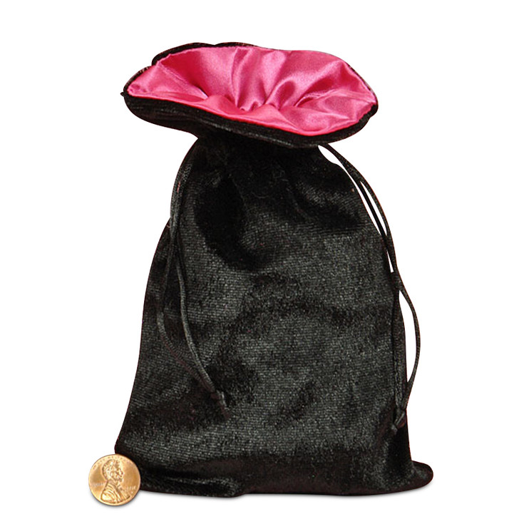 "Black and Pink 5x8"" Reversible Velvet/Satin Bag"