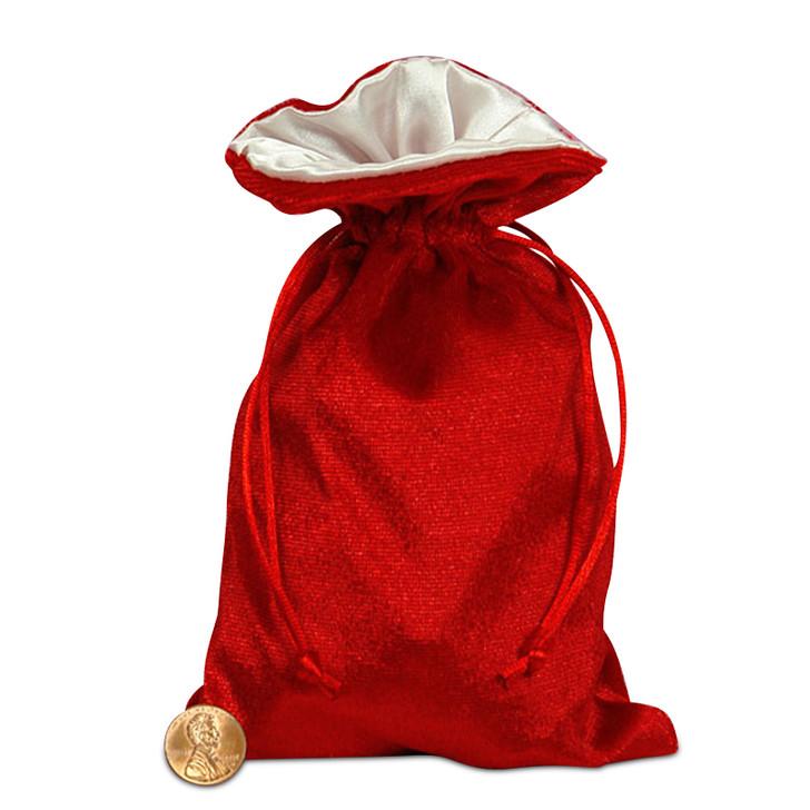 """Red and White 5x8"""" Reversible Velvet/Satin Bag"""