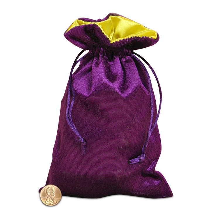"Purple and Yellow 5x8"" Reversible Velvet/Satin Bag"