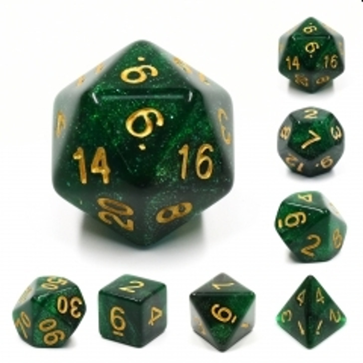 Green Galaxy 7pc Dice Set with Gold Ink for TTRPGs