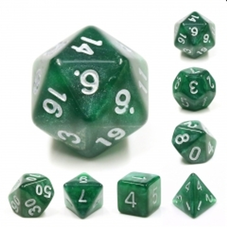 Dark Forest 7pc Dice Set with Silver Ink for TTRPGs