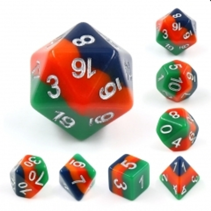 Christmas Tree 7pc Silver  Ink Polyhedral Dice Set For RPGs