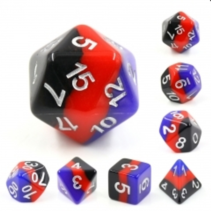 Windsor Castle 7pc Silver Ink Polyhedral Dice Set For RPGs