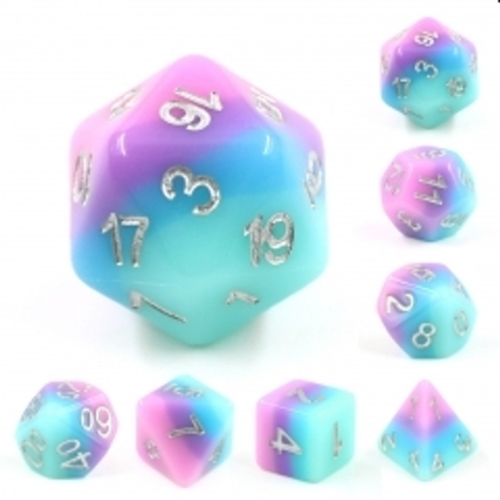 Fey Bloom 7pc Silver Ink Polyhedral Dice Set For RPGs