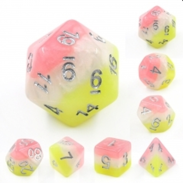 Posey 7pc Silver  Ink Polyhedral Dice Set For RPGs