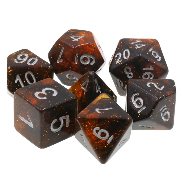 7pc Orange Glitter Polyhedral Dice Set