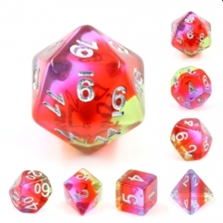 Pomegranate Blossom 7pc Translucent Layered Polyhedral Dice Set With Silver Numbers