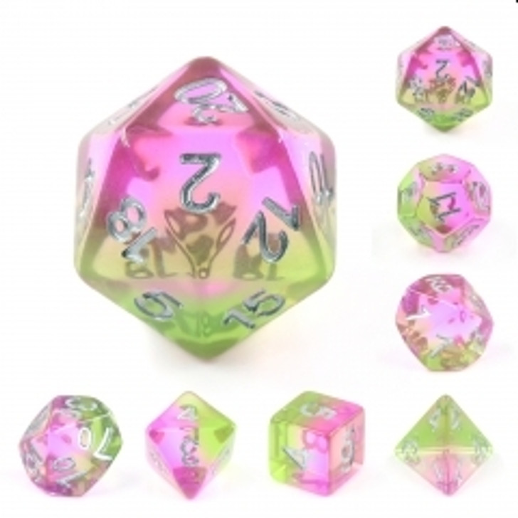 Spring Blossom 7pc Translucent Layered Polyhedral Dice Set With Silver Numbers