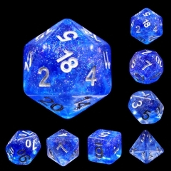 Blue Veil 7pc Polyhedral Glitter Dice Set with Silver Ink for TTRPGs