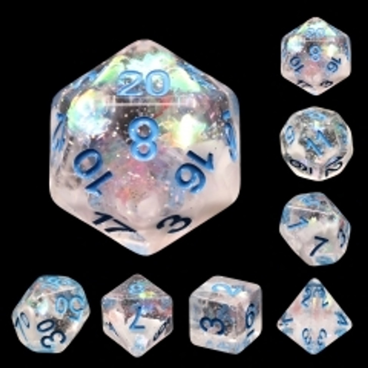 Blue Notes 7pc Blue Ink Polyhedral Dice Set for TTRPGS