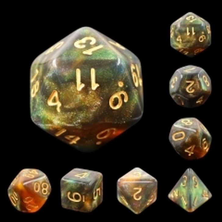 Nightingale 7pc Dice Set with Gold Ink for TTRPGs
