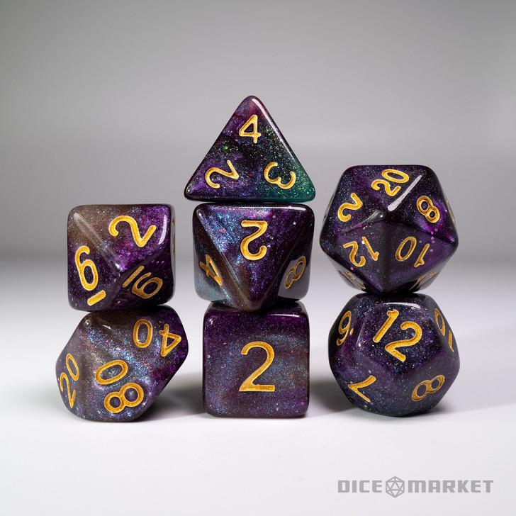 Purple Green Black Glitter Shift Blended 7pc Dice Set