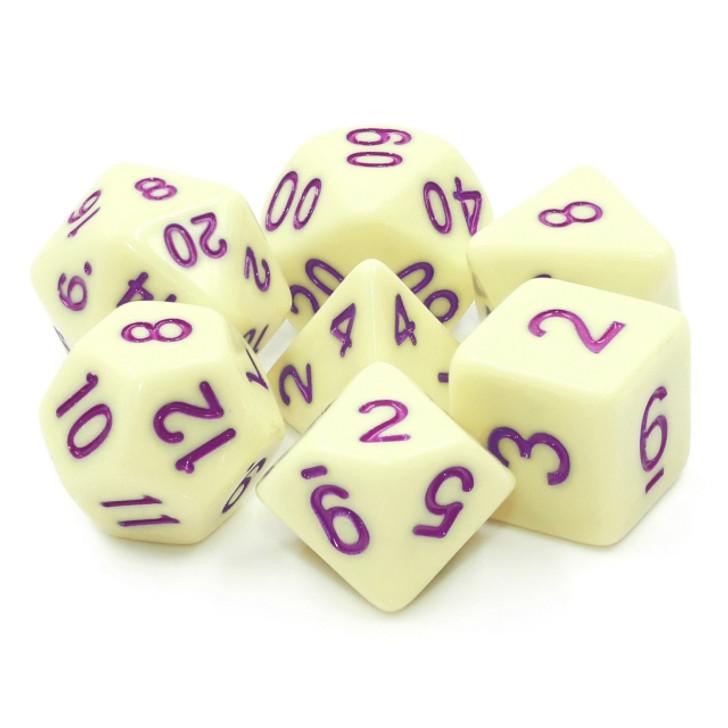 7pc Eggshell Robin Purple Ink Polyhedral RPG dice set
