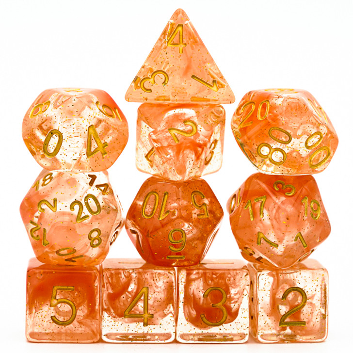 11PC Glitter Orange Smoke and Clear Polyhedral Dice Set