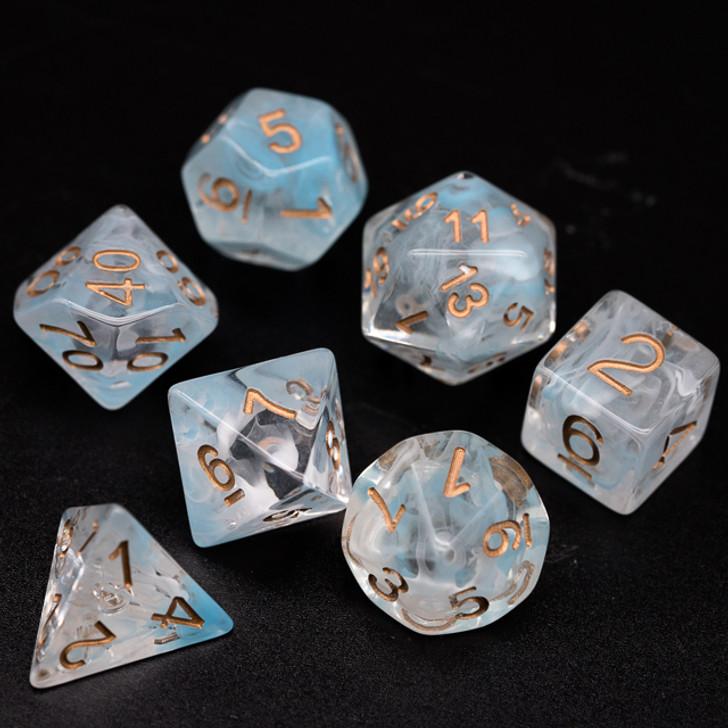 7pc Swirl Smoke Cyan and White Polyhedral RPG Dice Set
