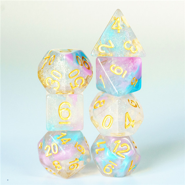 Pink and Blue Swirl Shimmer 7pc Polyhedral Dice Set