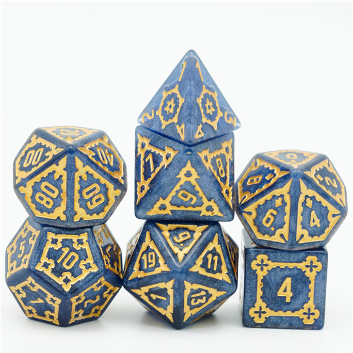 Blue Huge Castle Dice 7pc 25mm Polyhedral Dice Set With Copper Ink