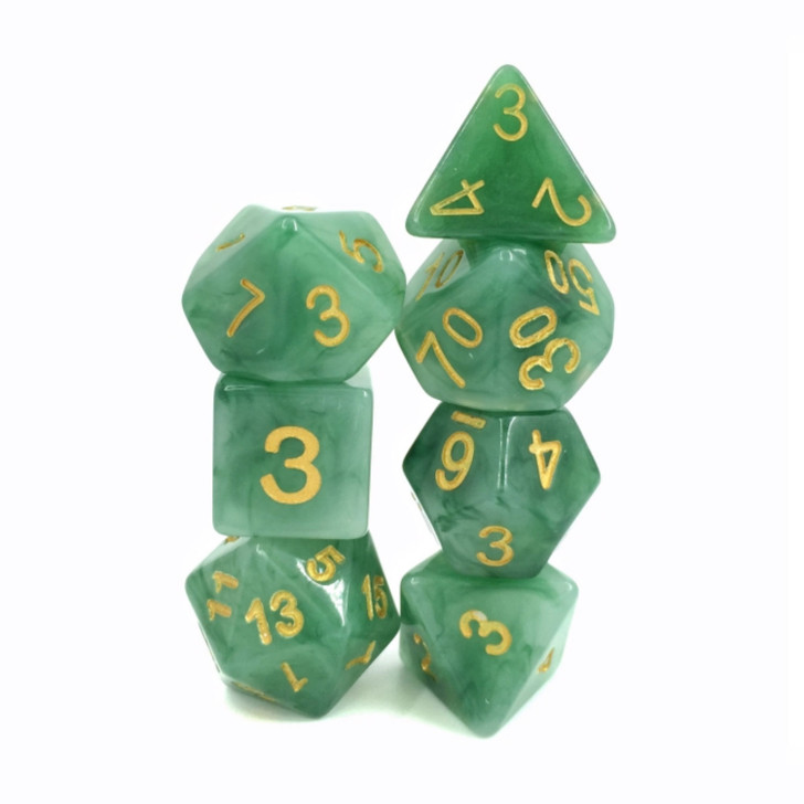 Green Jade Dice Set For Dungeons and Dragons