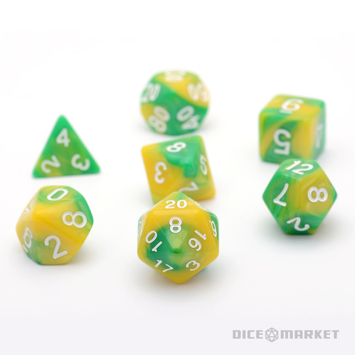 7pc Green Yellow Blended Polyhedral Dice Set