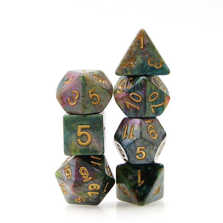 7pc Green Yellow Rose Red Marble Dice Set