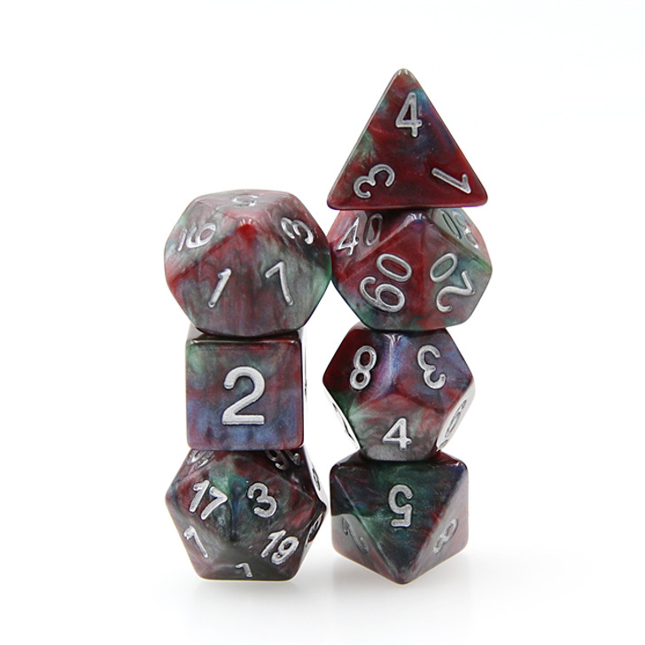 7pc Blue Red Marble Dice Set