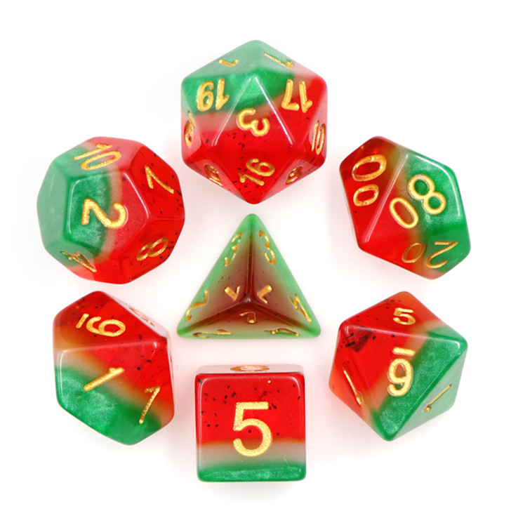 Watermelon Polyhedral Dice Set For DnD RPG