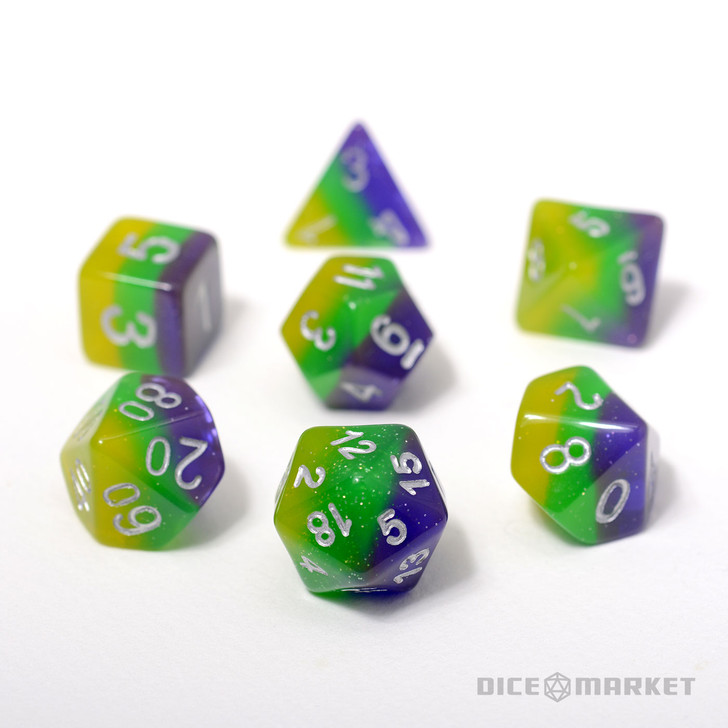 7pc Green Purple Yellow Polyhedral Layered Dice Set