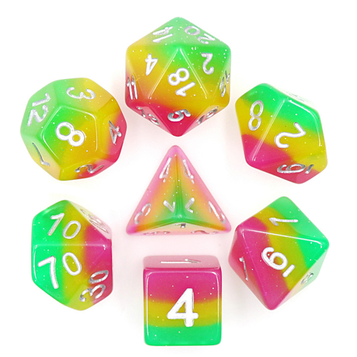 7pc Green Pink Yellow Polyhedral Layered Dice Set