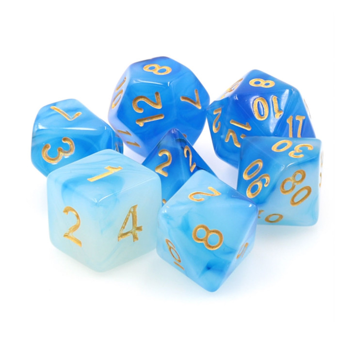 Blue Milky 7pc Polyhedral Dice Set for DnD RPG