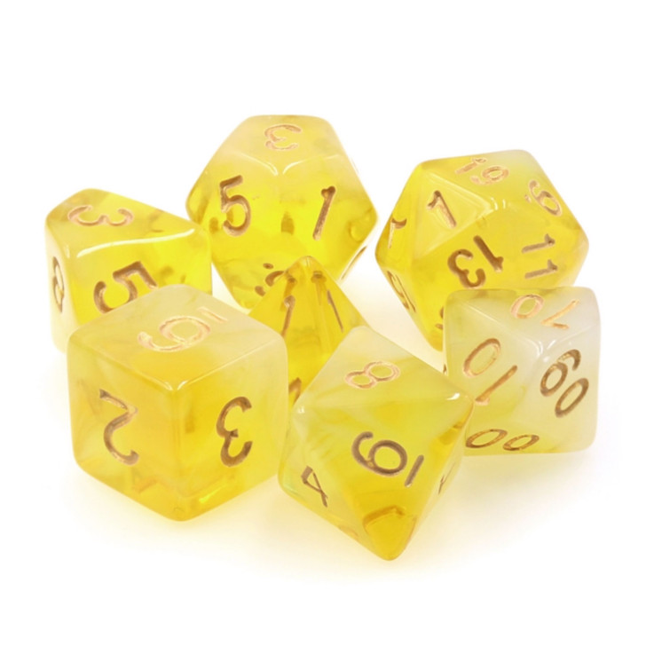 Yellow Milky 7pc Polyhedral Dice Set for DnD RPG