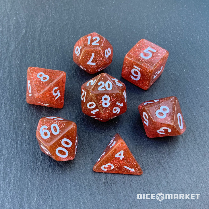 Red Glitter 7pc Polyhedral Dice Set