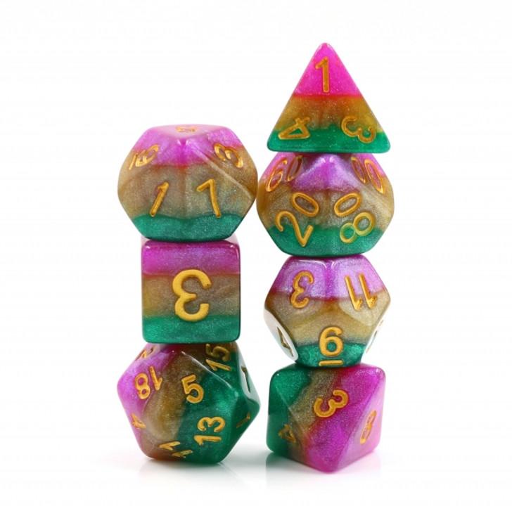 Mardi Gras 7pc Polyhedral RPG Dice Set