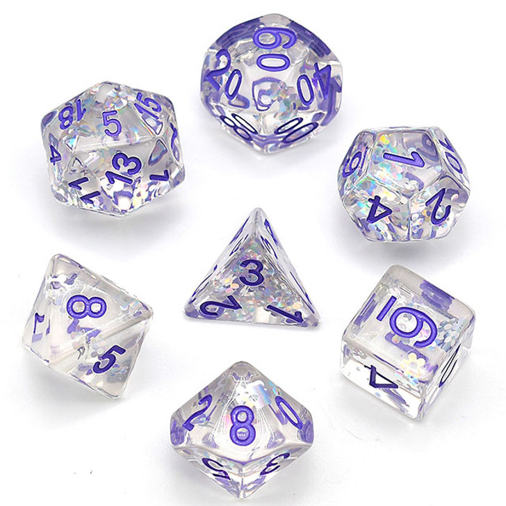 Flashing Plum Glitter Flower filled Polyhedral RPG Dice Set