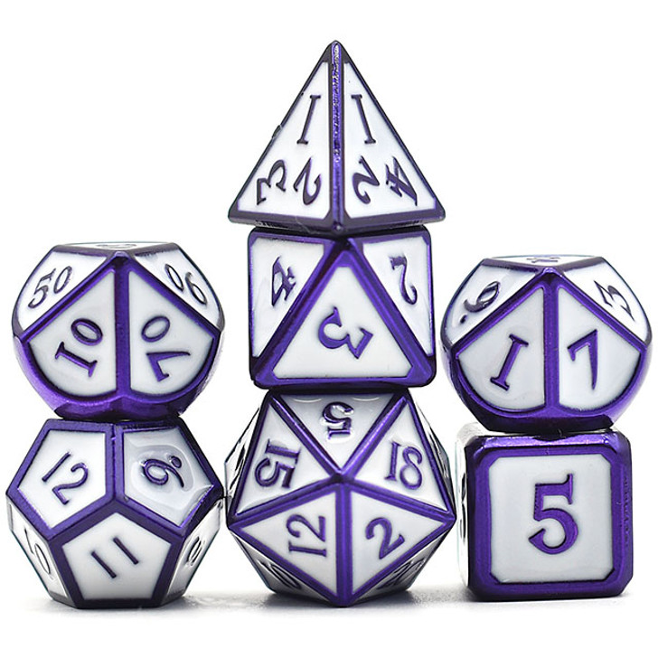 7pc Purple Chrome Electrophoresis Polyhedral Dice Set With White Enamel For RPGS