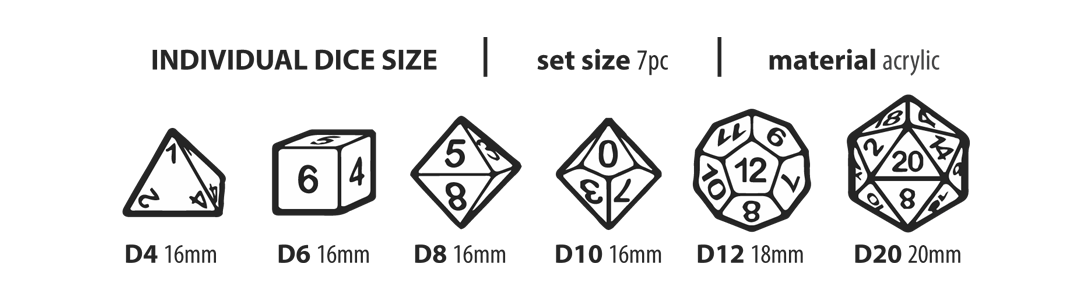 dice size acrylic set