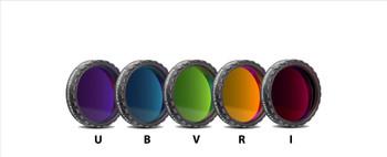 "Set of 5 Photometric UBVRI Filters 1.25"" mounted (4mm Glass, Optically Polished)"