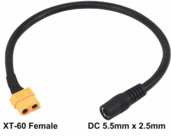 PegasusAstro 2.5X5.5mm female to XT60 male adapter for PSU (UPBv2)