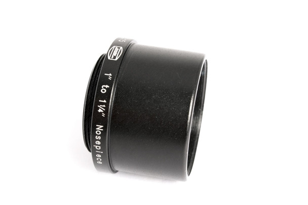 """1"""" C-Mount Adapter with 1¼"""" Nosepiece, 18mm long, threaded to hold 1-1¼"""" eyepiece filters (also includes retainer ring to permanently hold one unmounted filter from 27.5 to 28mm diameter)"""