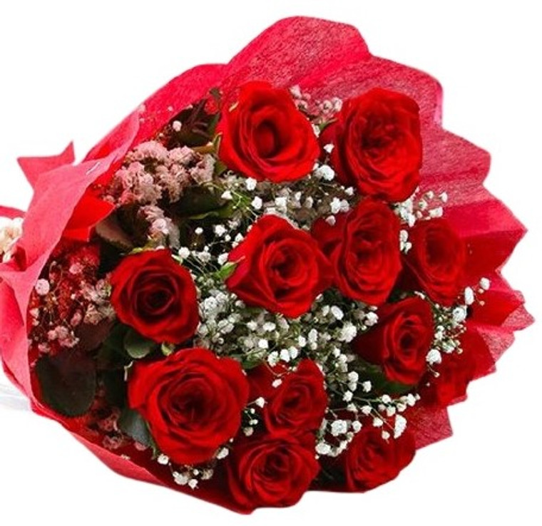 25 Blood red Roses with Baby's Breath