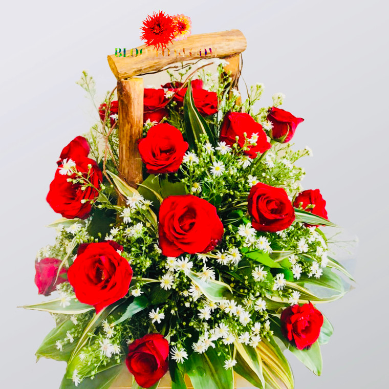 Roses in a wooden basket