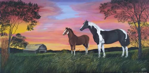 Horse and Foal on Sunset Ridge original