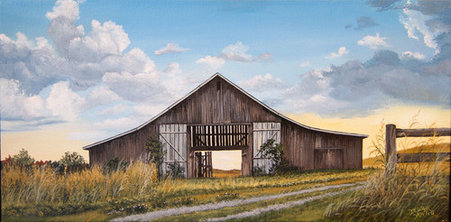 Amber Sunset on the Barn. The light of God comes to us in many different ways, through sermons, a friend's compassion or sometimes just through the gentle peace that God is there.  When I see light bursting through I know He is reminding me He is the light to my path.  This landscape print is on a stretched canvas 24 x 12 and grabs your attention in a barn siding frame.